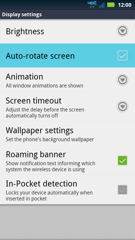 Display settings, Auto-rotate screen