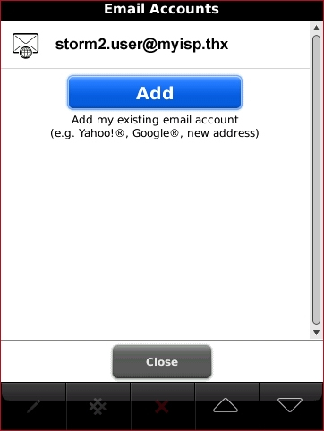 Email accounts screen with Add highlighted